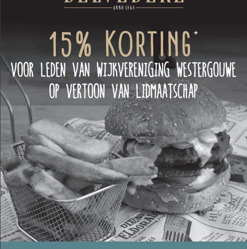 Voor leden: 15% korting bij restaurant Belvedère
